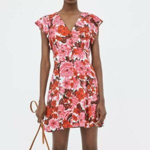 Zara Floral Button Down Dress Pink Blue and Red